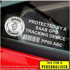 4 x SAAB PERSONALISED GPS Tracking Device-Stickers-Security,Alarm,Vehicle,Safety