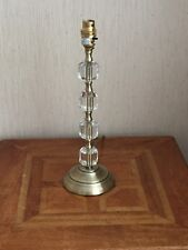 "TABLE LAMP BASE ANTIQUE BRASS CRYSTAL GLASS 14""HIGH"