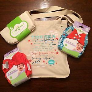NIP Bumgenius Goodie Bag Lot W/ Wipes Jules & Sassy Freetime  Cloth Diapers