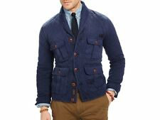 $298 NWT NEW POLO RALPH LAUREN BLUE WASHED COTTON SHAWL COLLAR CRUISER JACKET S