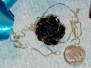 Sterling Silver & Black Rose Carved Flower Signed CYAG on 20 Inch 925 Chain