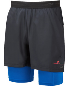 RONHILL Men's TECH ULTRA Twin Running Shorts - Black/Blue  *NEW*