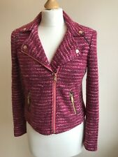 Gorgeous Cropped JUICY COUTURE Pink Tweed Zip Blazer Black Label XS