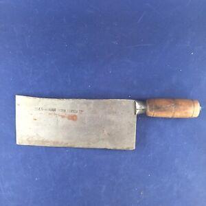 Vintage Japanese Knife - Cleaver Keelee Heavy Patina Carbon Steel Wood Handle