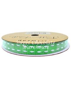 Green Saddle Stitch Grosgrain Ribbon 10mm x 5m