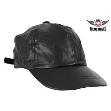 Genuine Black Leather Adjustable Biker Baseball Cap for Mens & Womens