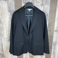 Pendleton Women's Size 14 Blazer Jacket One Button Black 100% Pure Virgin Wool