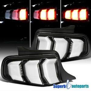 For 2010-2012 Ford Mustang Tail Lights Sequential Signal Lamps Black Pair