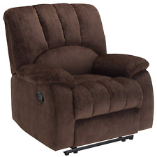 Deluxe Massage Padded Rocker Recliner Comfort Big Tall Lazy Boy Chair Brown New