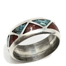 Vintage Sterling NAVAJO Turquoise Coral Inlay 8mm Band Ring Size 5.5, 6, 7 (467)