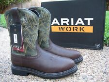 NEW Mens ARIAT Everett Brown / Sage Green Leather Steel Toe Work Boots #10022551