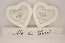 Me and Dad Photo Frame Twin Heart Cream Birthday Wooden 4x3.5 Fathers Day F0889D