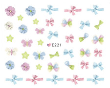 Nail Art 3D Decals Transfers Stickers Bows Ribbons Flowers (E221)