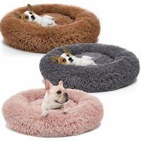 Warm Plush Round Donut Pet Dog Cat Bed Fur Cuddler Soft Puppy Calming Bed Kennel