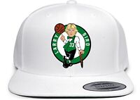 White Larry Bird Boston Logo Snapback Hat