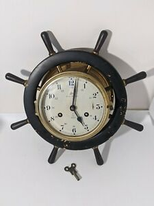 Schatz Brass Royal Mariner Wood Ships Wheel Clock Key Wind Germany Bell Chime