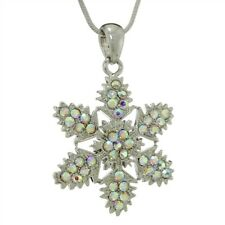 """Snowflake Made With Swarovski Crystal AB Pendant Winter Necklace 18"""" Chain"""