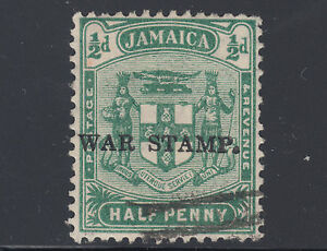 Jamaica Sc MR1 used. 1916 ½p green variety, heavy overprint shifted to left