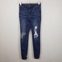American Eagle womens sz 00 hi rise jegging distressed denim jeans super stretch