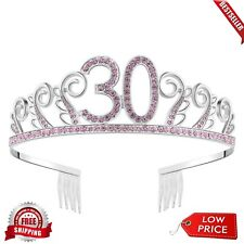 Happy Birthday 30th Silver Crystal Tiara Crown Styling Accessories Headband Pink
