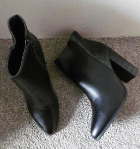 Black Pointed Toe Croc Back Heeled Ankle Boots Size UK 7 EU 40