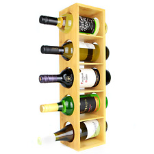 Bamboo Wine Rack Wall Mounted 5 Bottle Holder Stackable Wood Stand M&w