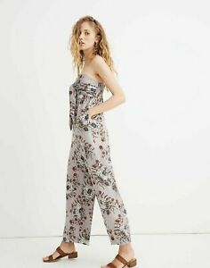 New! MADEWELL Strapless Tie Front Jumpsuit Size 10 Painted Blooms Violet Dusk