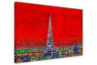 Paris Eiffel Tower Oil Painting Re-print on Framed Canvas Wall Art City Pictures