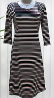 Ladies M&S Per Una Weekend Size 10 Striped 3/4 Sleeve Dress Bnwt Navy Mix