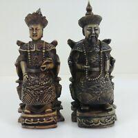 Carved Asian Oriental Emperor & Empress Figurines Formal Dress Raised Relief 3-D