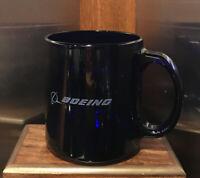 BOEING Cobalt Blue Pressed Glass Coffee Mug Cup USA