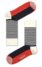 Happy Socks Half Striped Pair Of Socks UK Size 7 - 11  Unisex Mens Stripey Socks