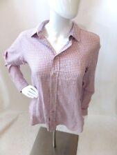 FIL NOIR Pink and White Plaid Button Down Blouse Top Size 38