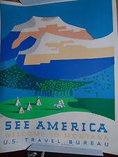 Tiny Showcase US Travel Bureau Welcome to Montana Art Print Poster Richard Hall