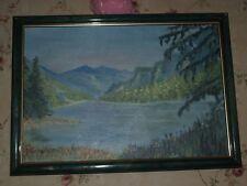 Magnifique peinture a huile paysage de montagne