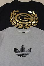 LOT OF 2 ADIDAS CLASSIC MENS CREWNECK SWEATERS GRAY BLACK GOLD SZ L XL YEEZY