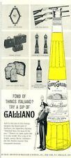 1961 Italiano Galliano Liqueur Vintage Bottle Beretta  PRINT AD