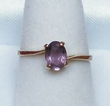 14K Yellow Gold Amethyst Ring 14kt Beautiful Vintage Designer Style Crest Solid