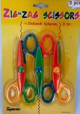 Bastelschere 3er Set Zackenschere Zickzack-Schere  Werken Basteln Wellenschere