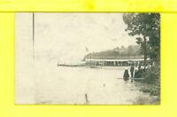 NY Richland area 1909 RPPC real photo postcard SHIP & PEOPLE AT DOCK