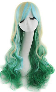 Lady 80cm Long Curly Wigs Fashion Cosplay Costume Hair Anime Full Gradient Wigs
