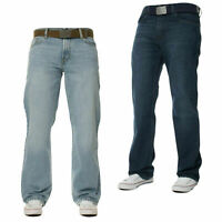 Mens Straight WideLeg Jeans Stretch Denim Regular Fit Casual Pants Work Trousers