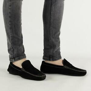 Mens Suede Leather Comfort Casual Penny Driving Moccasin Loafers Shoes Black