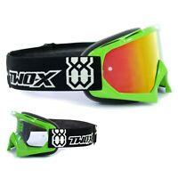 TWO-X Race Crossbrille MX DH Enduro Brille grün Spiegelglas verspiegelt iridium