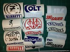 Gun Stickers Pack Real Gun and firearms ammunition brands Browning HK Colt S&W