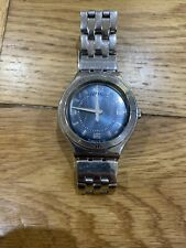Swatch Mens Watch Used Silver And Blue Face