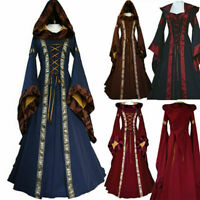 Women Victorian Renaissance Dress Witch Medieval Cosplay Hooded Bell Sleeves