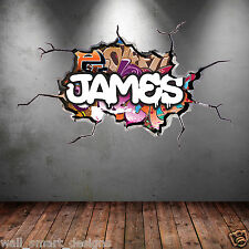 OLOUR PERSONALIZED 3D GRAFFITI NAME CRACKED WALL ART STICKER DECAL MURAL WSD116