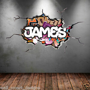 OLOUR PERSONALISED 3D GRAFFITI NAME CRACKED WALL ART STICKER DECAL MURAL WSD116