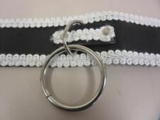 Slave Collar BDSM Bondage Black and White Decorative Stitched Applique O-Ring